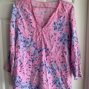Lilly Pulitzer Silk Tunic XS Pink Renato Amelia